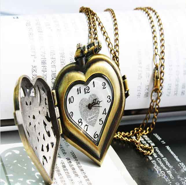 Classical Exquisite Hollow Heart Shape Design Pocket Watch