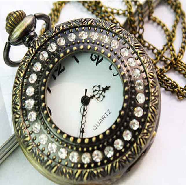 SEO_COMMON_KEYWORDS Fashion Design Pendant Pocket Watch With Exquisite Rhinestone Cover