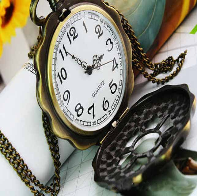 Classical Retro Style Brass Hollow Pendant Pocket Watch