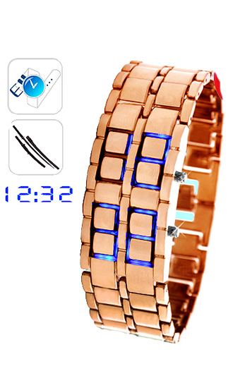 Bronze Samurai Japanese Inspired Blue LED Watch - Click Image to Close