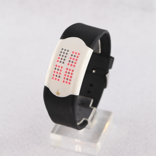 SEO_COMMON_KEYWORDS Fashionable Light Red LED  Black Silicone Touch Watch