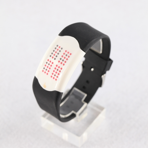 Fashionable Light Red LED  Black Silicone Touch Watch