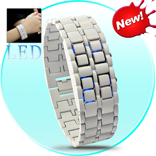SEO_COMMON_KEYWORDS Iron Samurai Shiro - White Japanese Style Inspired Blue LED Watch