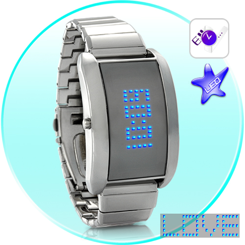 SEO_COMMON_KEYWORDS Blue Fiction - Metal Alloy LED Watch with Scrolling Text