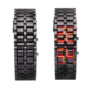 Iron Samurai - Japanese Style Inspired Red LED Watches LW008BR - Click Image to Close