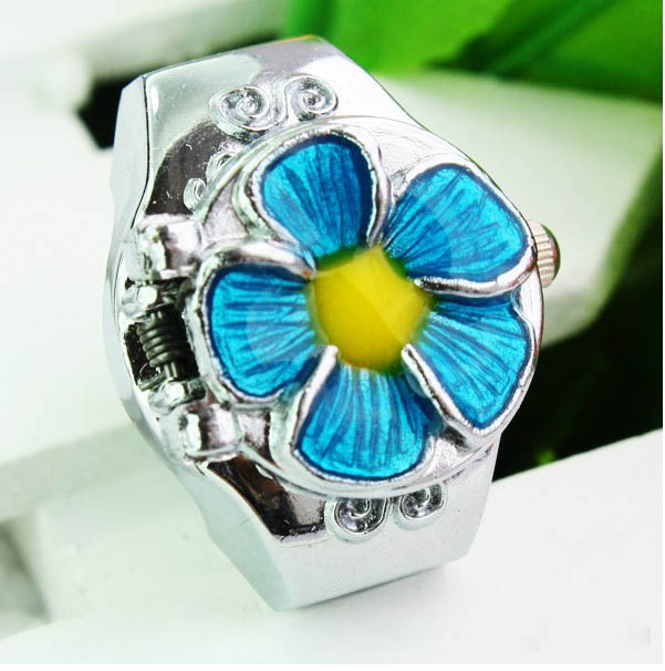 SEO_COMMON_KEYWORDS New Beauty Flower Quartz Finger Ring Elastic Watch
