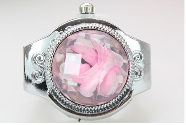 SEO_COMMON_KEYWORDS New Pink Flower Charming Quartz Finger Ring Watch