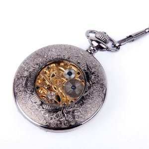 Skeleton Pocket Watch Chain Mechanical Hand Wind Half Hunter Antique Look Value