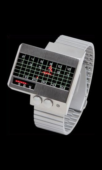SEO_COMMON_KEYWORDS Silver Heartbeat Watches with Red LEDs
