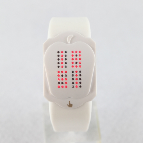 SEO_COMMON_KEYWORDS Fashionable Light Red LED White Silicone Touch Watch