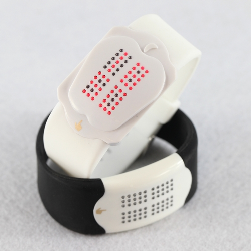 Fashionable Light Red LED White Silicone Touch Watch
